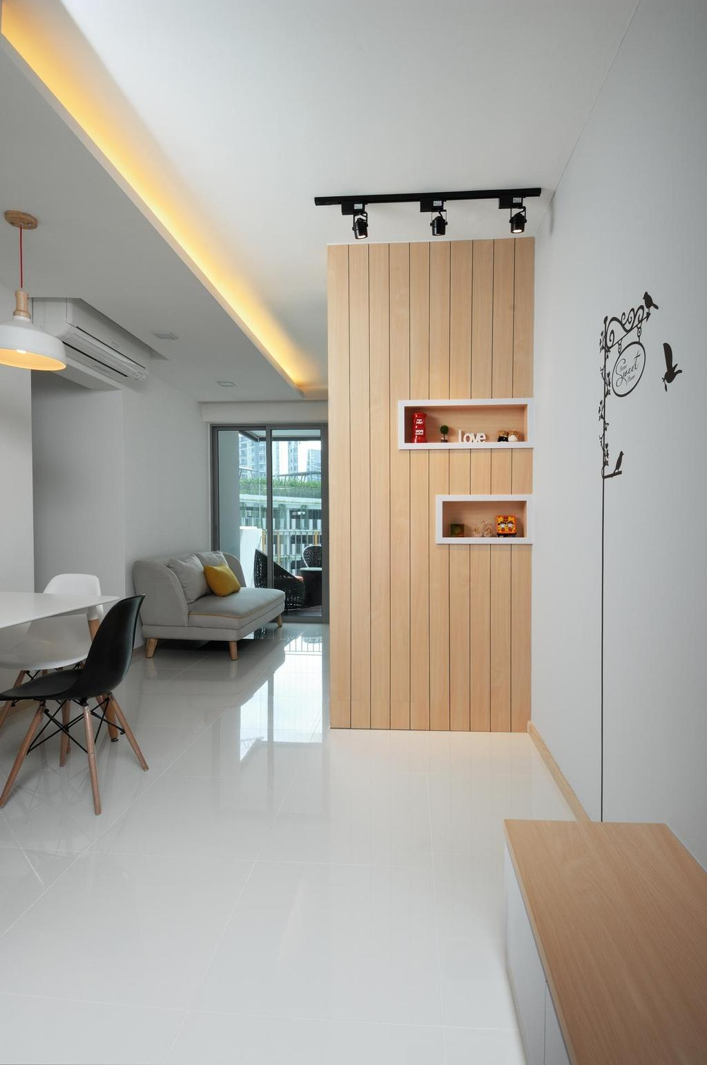 Scandinavian, HDB, Dining Room, Parkland Residences, Interior Designer, Aart Boxx Interior, Drawing On Wall, Art On Wall, Indirect Ceiling Lighting, White Floor, Wooden Partition, Pendant Light, Chair, Furniture, Indoors, Interior Design