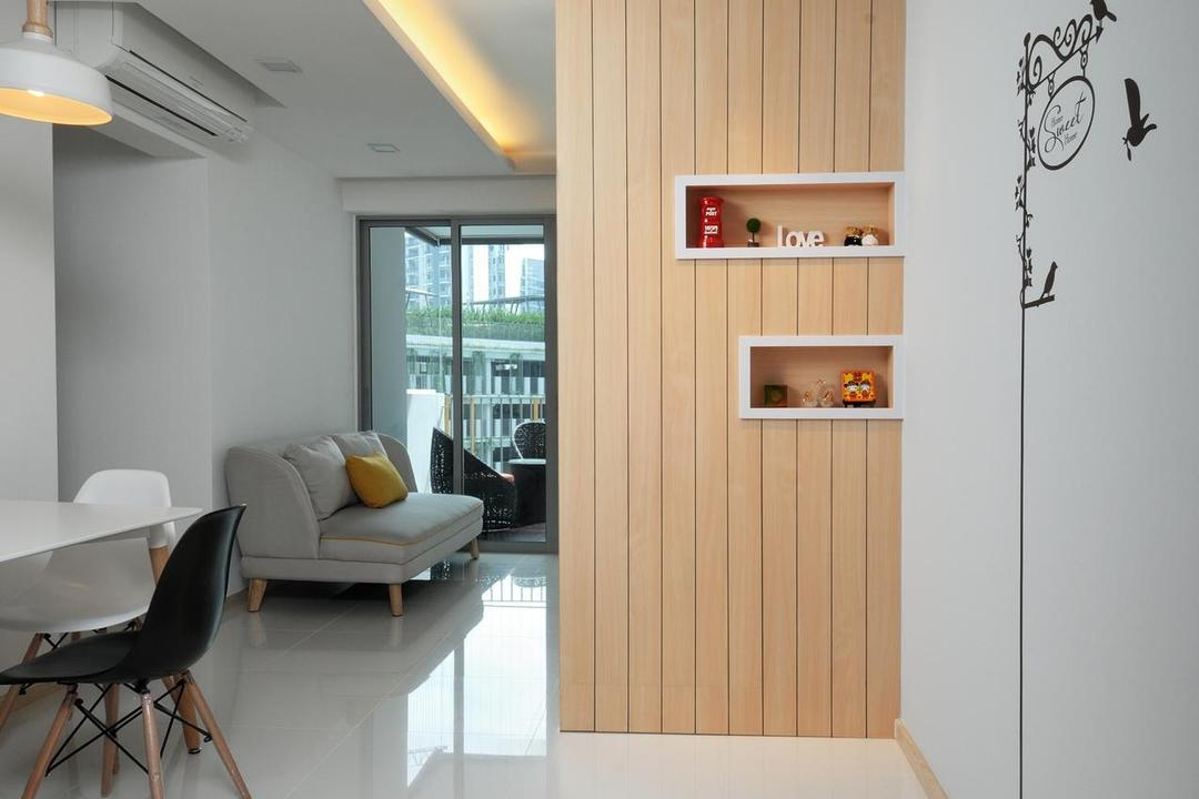 Parkland Residences, Aart Boxx Interior, Scandinavian, Dining Room, HDB, Drawing On Wall, Art On Wall, Indirect Ceiling Lighting, White Floor, Wooden Partition, Pendant Light, Chair, Furniture, Indoors, Interior Design