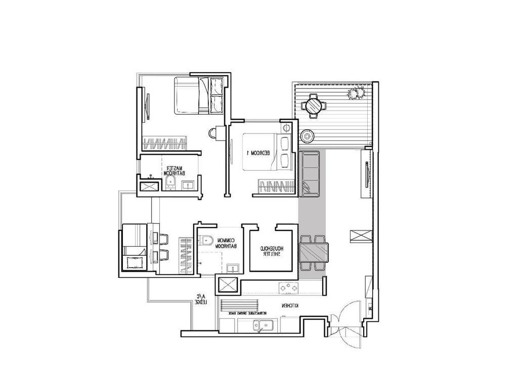 Scandinavian, HDB, Parkland Residences, Interior Designer, Aart Boxx Interior, Floorplan, Diagram, Plan