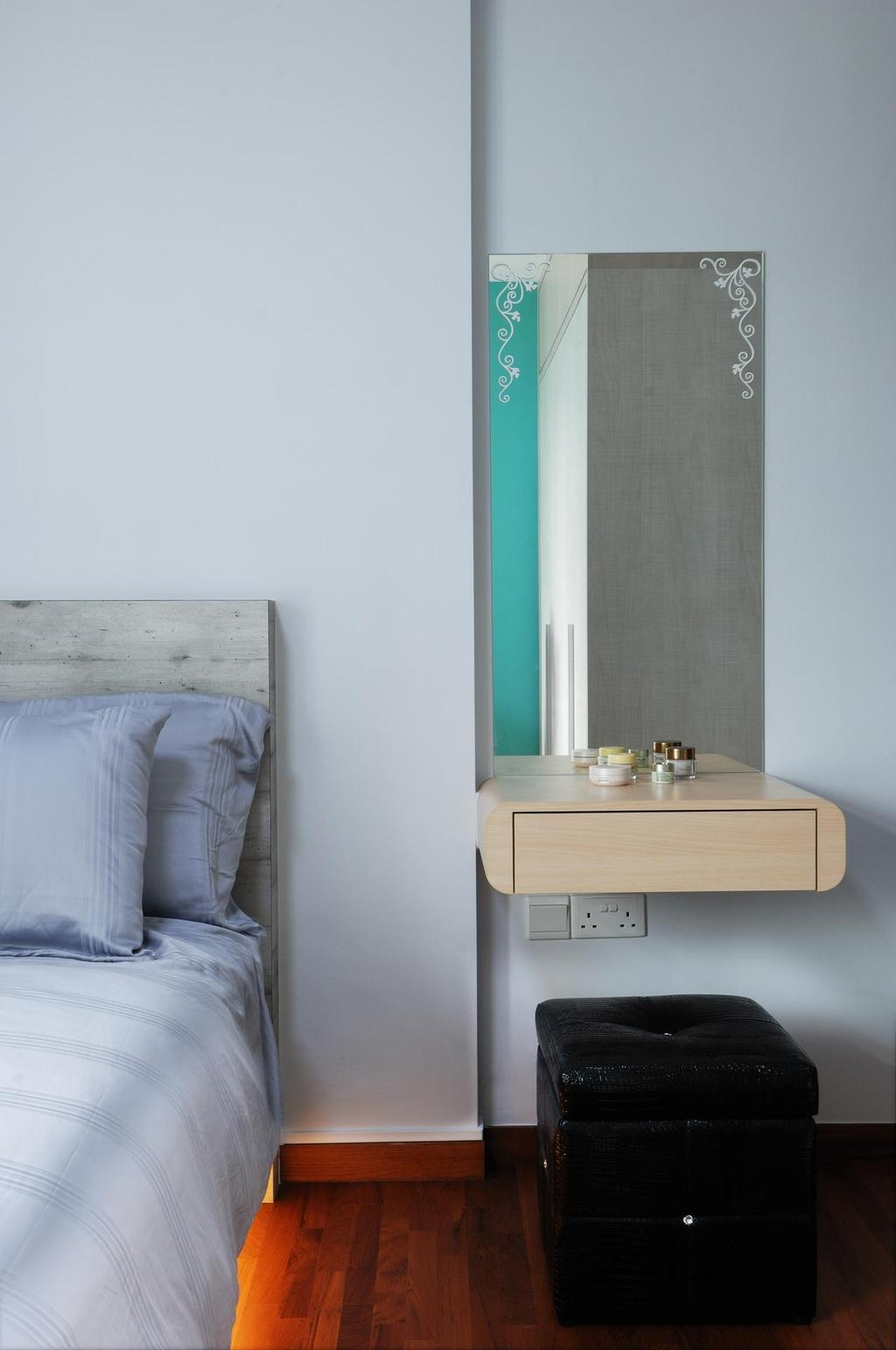 Scandinavian, HDB, Bedroom, Parkland Residences, Interior Designer, Aart Boxx Interior, Wall Mounted Cabinet, Wall Mounted Drawer, Mirror, White Wall, White, Brown