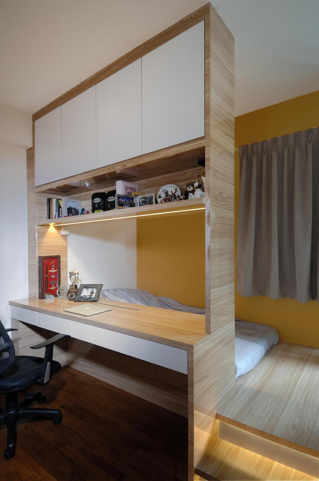 Scandinavian, HDB, Bedroom, Parkland Residences, Interior Designer, Aart Boxx Interior, White Cabinets, Wooden Flooring, Curtains, Gray Curtains, Grey Curtains, Studying Chair, Study Desk, Open Shelf, Steps, Elevated Floor, Indoors, Interior Design, Room