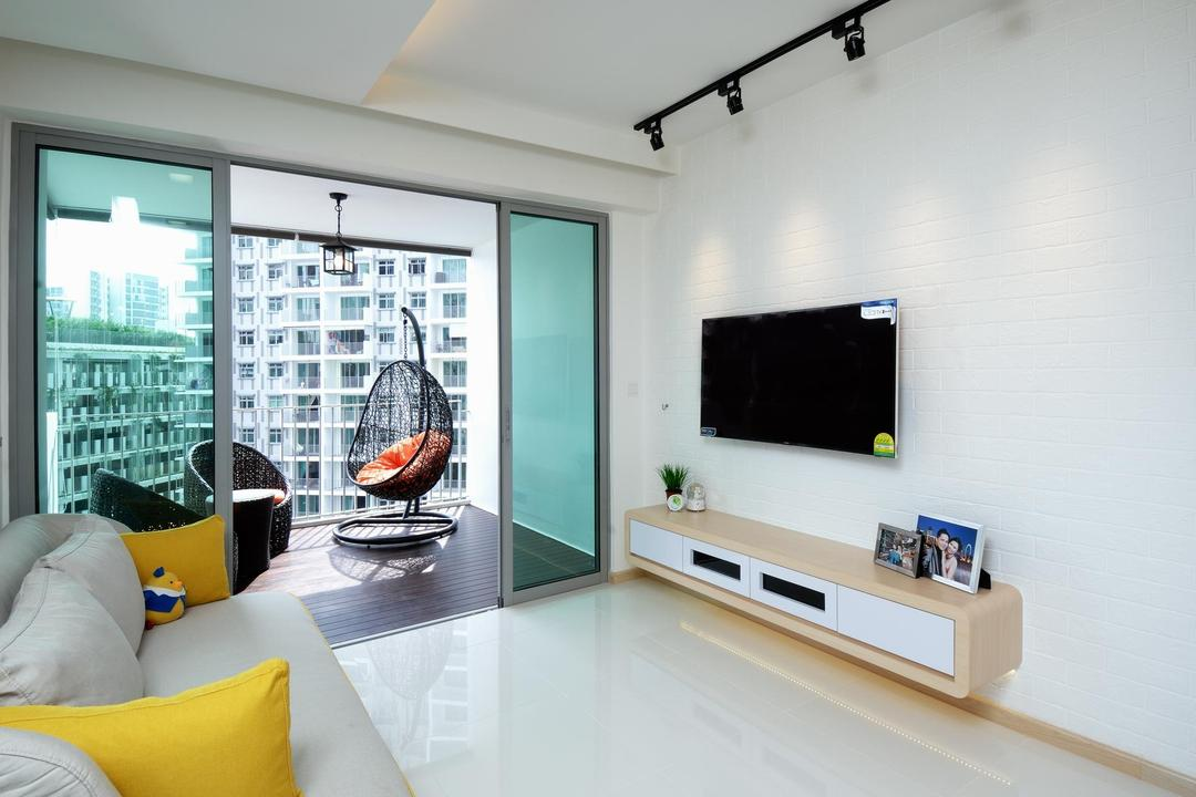Parkland Residences, Aart Boxx Interior, Scandinavian, Living Room, HDB, Yellow Cushion, Cushion, White Theme, Wall Mounted Tv Shelf, Wall Mounted Shelf, Wall Mount Tv Console, Wall Mount Shelf, Sliding Door, Hanging Chair, Hanging Outdoor Chair, Chair, Furniture, Appliance, Electrical Device, Microwave, Oven, Indoors, Interior Design