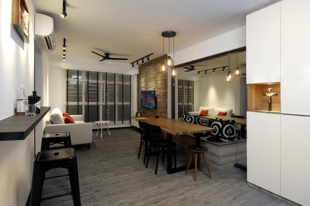 Scandinavian, HDB, Dining Room, Tiong Bahru View, Interior Designer, Aart Boxx Interior, Wall Mounted Table, Portrait, Black Chairs, Wooden Flooring, Pendant Lighting, White Cabinets, Dining Table, Furniture, Table, Bench, Indoors, Interior Design, Room, Chair