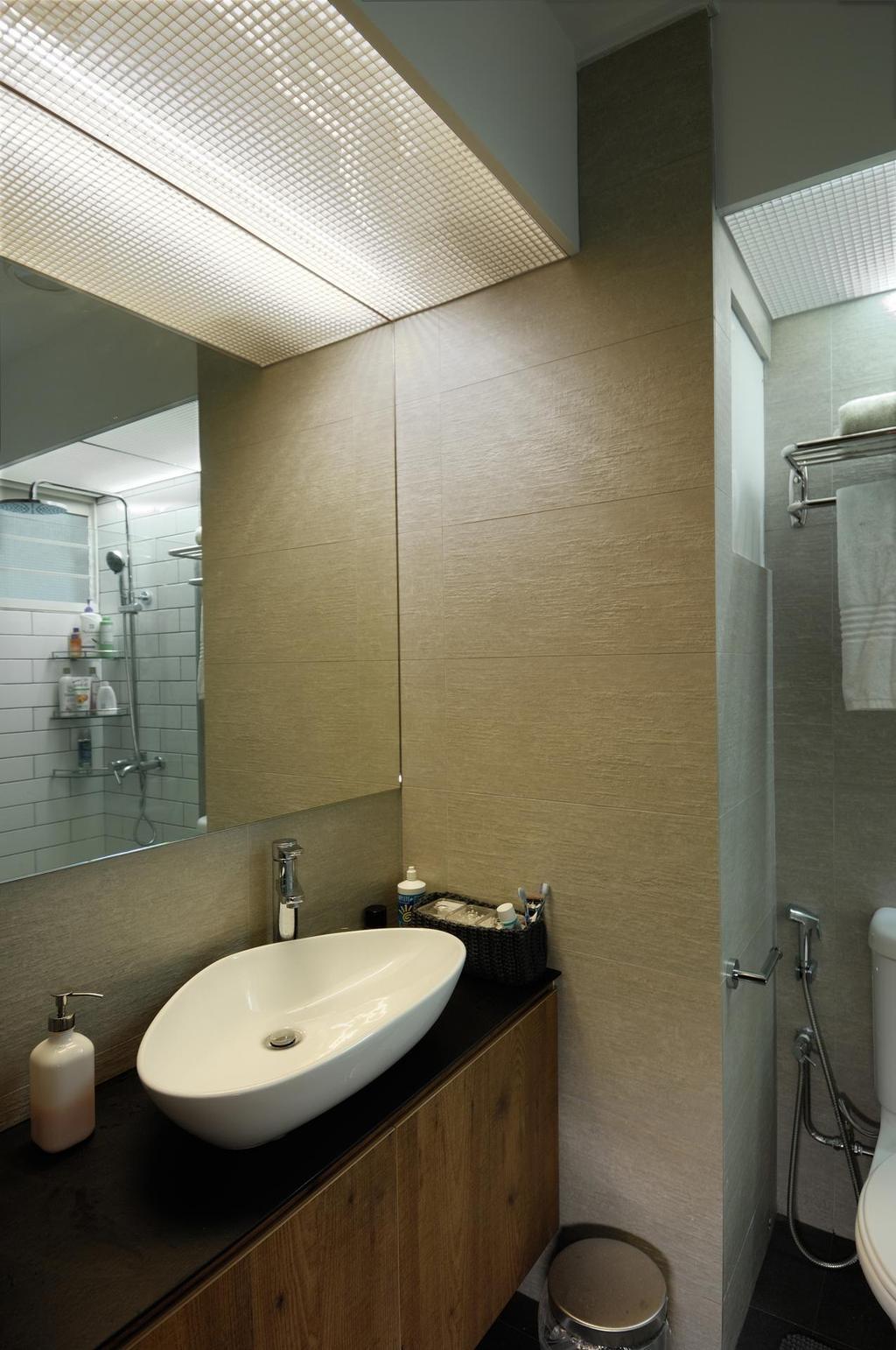 Scandinavian, HDB, Bathroom, Tiong Bahru View, Interior Designer, Aart Boxx Interior, White Sink, Sink, Mirror, Bathroom Lighting, Toilet Lighting, White Basin, Basin, Indoors, Interior Design, Room
