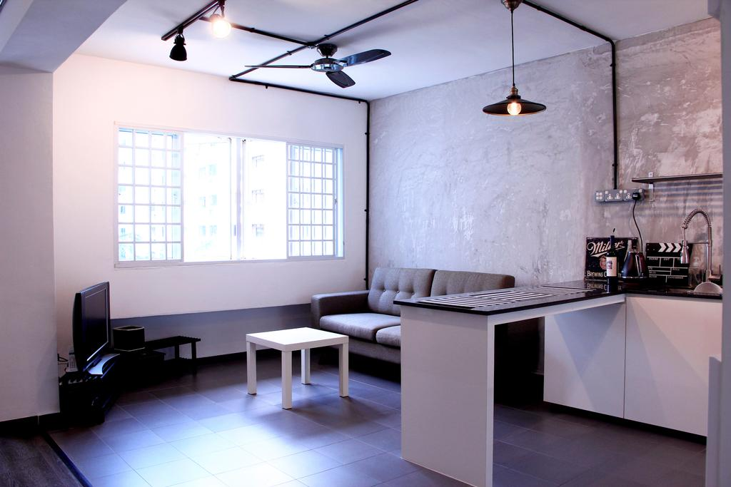 Industrial, HDB, Living Room, Woodlands Masionette, Interior Designer, Voila, Hanging Light, Trackie, Track Light, White Wall, Couch, Furniture, Chair, Dining Table, Table