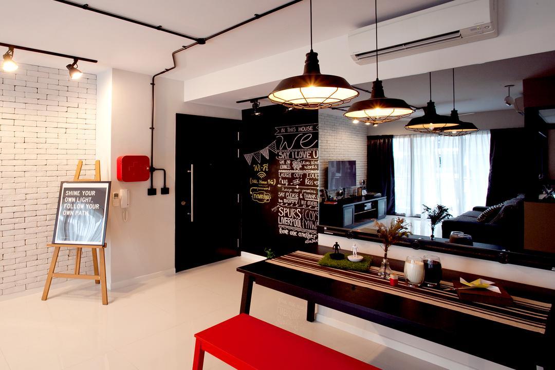 RiverParc Residence (Punggol - Block 96), Voila, Scandinavian, Living Room, Condo, Chalk Baord, Brick Wall, Hanging Light, Track Light, Trackie, HDB, Building, Housing, Indoors, Loft