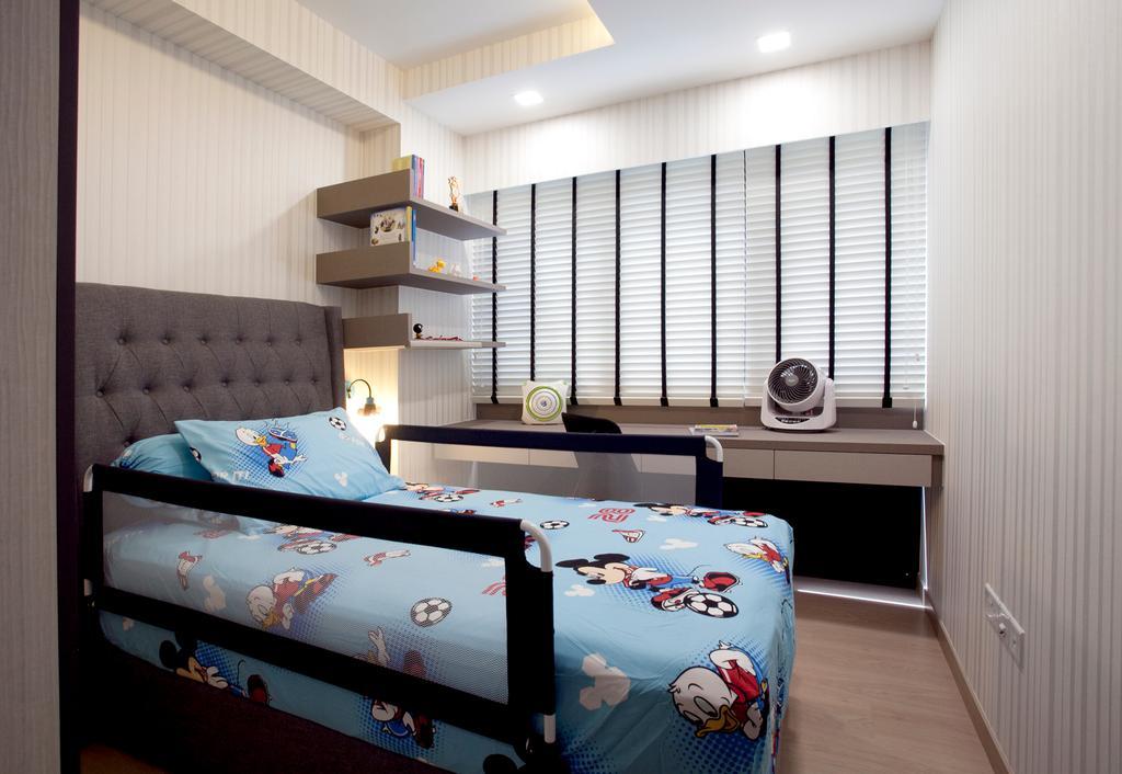 Modern, Condo, Bedroom, RiverParc Residence (Punggol - Block 92), Interior Designer, Voila, Venetian Blinds, Headboard, Wallpaper, Bed, Furniture
