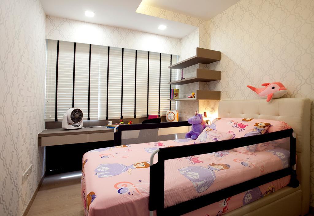 Modern, Condo, Bedroom, RiverParc Residence (Punggol - Block 92), Interior Designer, Voila, Venetian Blinds, Laminate, Wallpaper, Bed, Furniture, Shelf