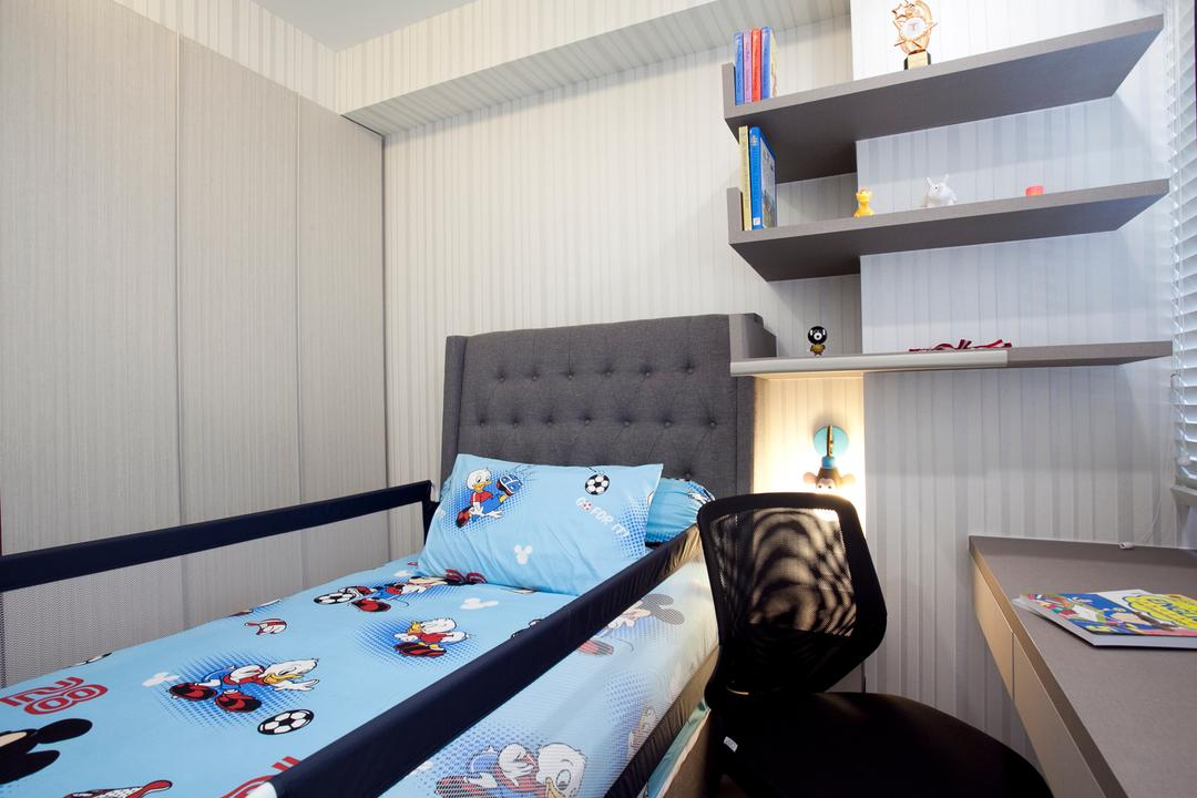 RiverParc Residence (Punggol - Block 92), Voila, Modern, Bedroom, Condo, Display Shelf, Planks, Headboard, Laminate, Shelf, Bed, Furniture, Gambling, Game, Chair