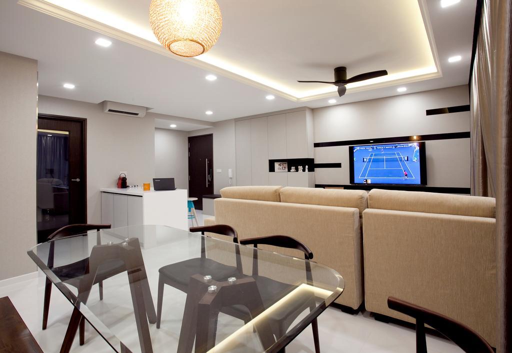 Modern, Condo, Dining Room, RiverParc Residence (Punggol - Block 92), Interior Designer, Voila, Hanging Light, Glass Table, Cove Light, Concealed Lighting, Chair, Furniture, Dining Table, Table, Lighting, Sink, Couch