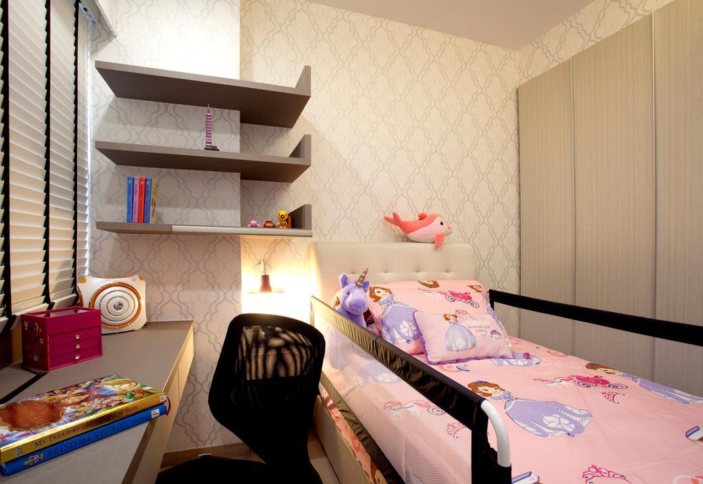 Modern, Condo, Bedroom, RiverParc Residence (Punggol - Block 92), Interior Designer, Voila, Wallpaper, Venetian Blinds, Laminate, Bed, Furniture