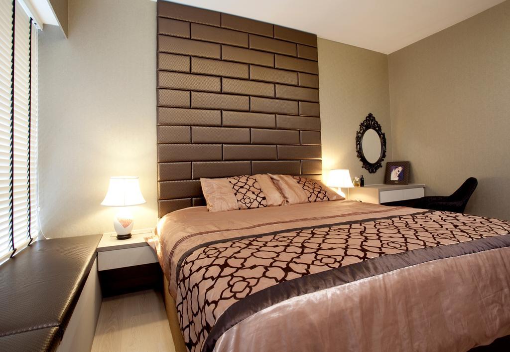 Modern, Condo, Bedroom, RiverParc Residence (Punggol - Block 92), Interior Designer, Voila, Bay Window, Venetian Blinds, Headboard, Table Lamp, Bed Lamp, Bedside Table, Bed, Furniture
