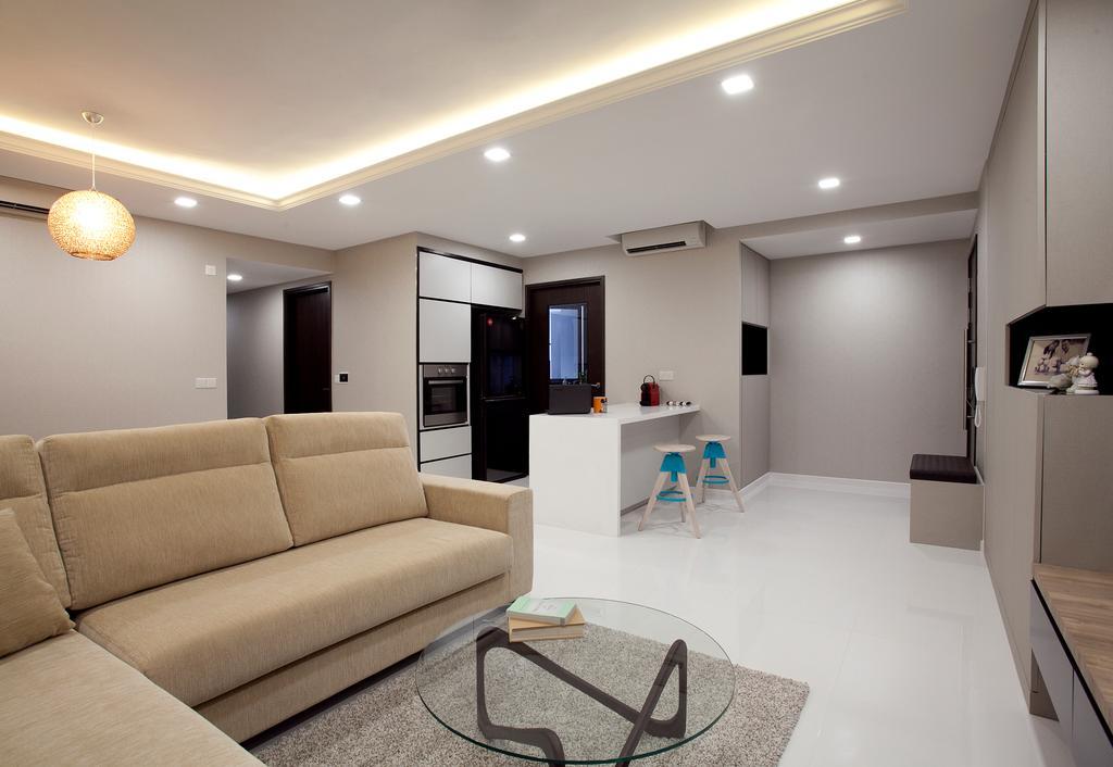 Modern, Condo, Living Room, RiverParc Residence (Punggol - Block 92), Interior Designer, Voila, Concealed Lighting, Cove Light, Hanging Light, Couch, Furniture, Lighting, Indoors, Room