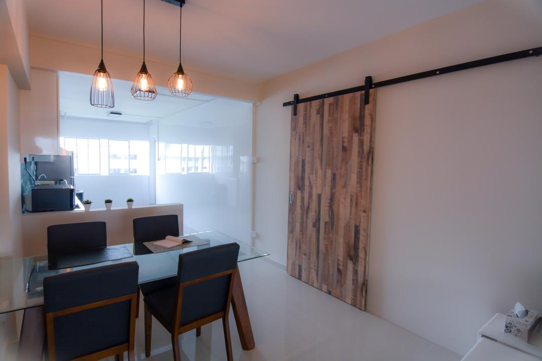 Bedok Reservoir (Block 615), Faith Interior Design, Modern, Scandinavian, Dining Room, HDB, Modern Scandinavian Dining Room, Modern Dining Set, Industrial Multi Pendant Lighting, Industrial Sliding Door