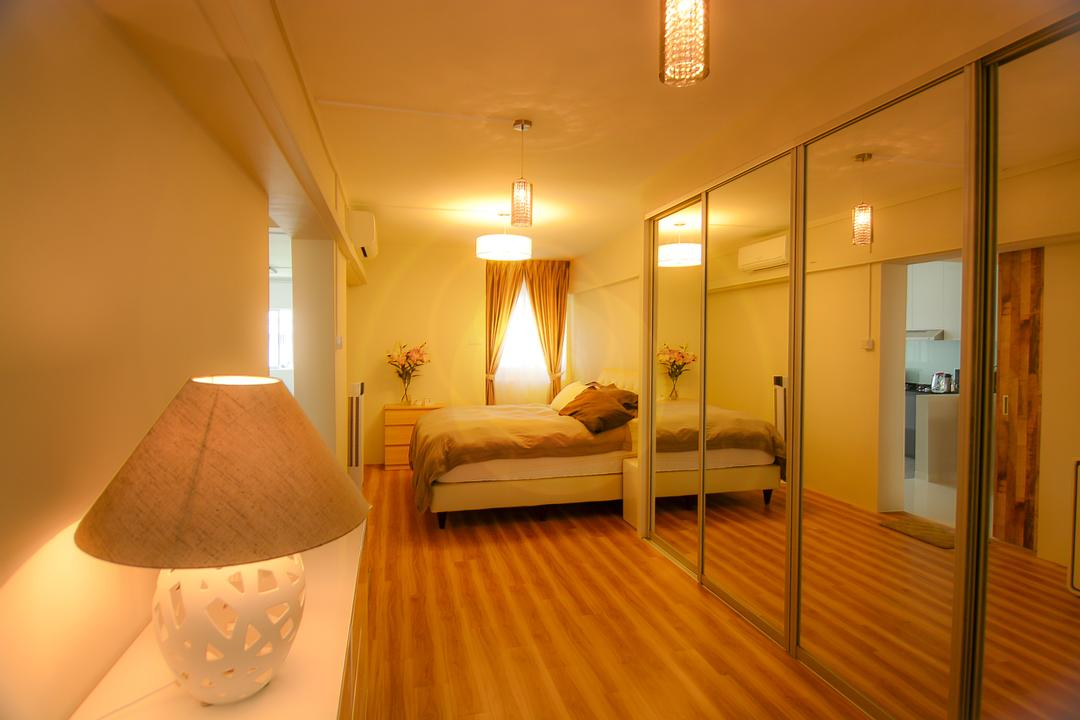 Bedok Reservoir (Block 615), Faith Interior Design, Modern, Scandinavian, Bedroom, HDB, Cosy Bedroom, Built In Sliding Mirrored Wardrobe, Table Lamp, Curtain, Round Shade Pendant, Crystal Pendant Lighting, Modern Contemporary Bedroom
