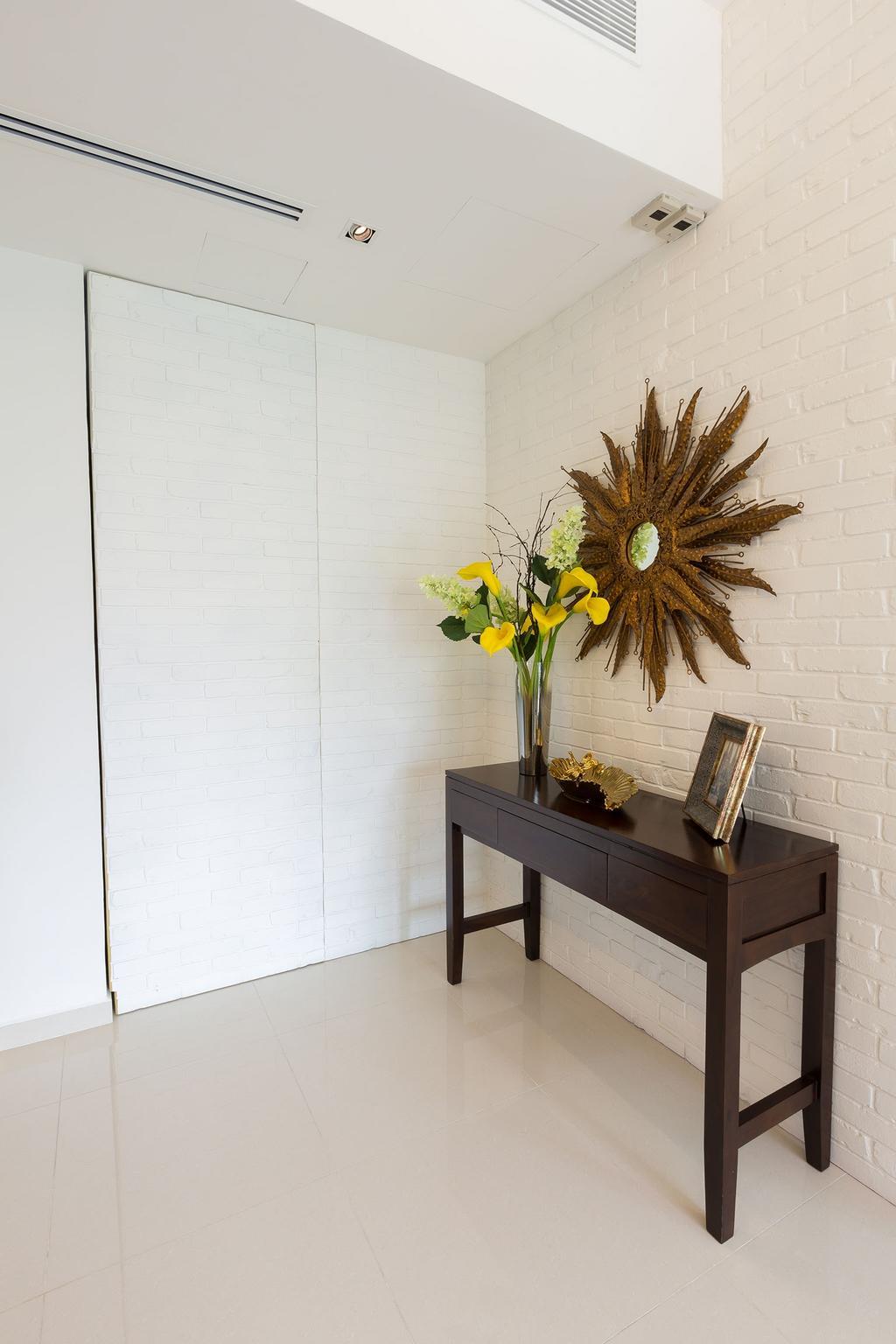 Modern, Condo, Hindhede Walk, Interior Designer, Faith Interior Design, Contemporary, Brick Wall, Console Table, Decorations, Sunburst Mirror, False Ceiling, Spotlight, Hidden Door