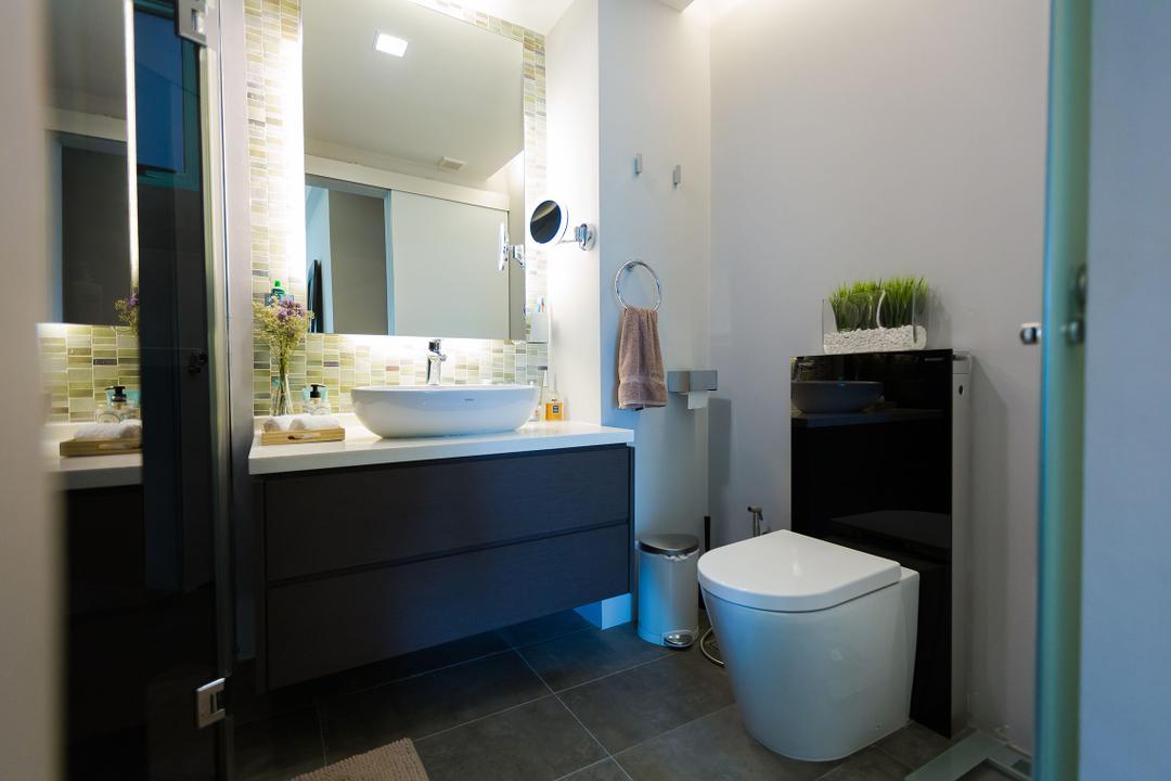 Hindhede Walk, Faith Interior Design, Modern, Contemporary, Bathroom, Condo, Contemporary Bathroom, Mosaic Tiles, Contemporary Toilet Bowl, Vessel Sink, Sink Countertop, Mirror Lighting, Downlights
