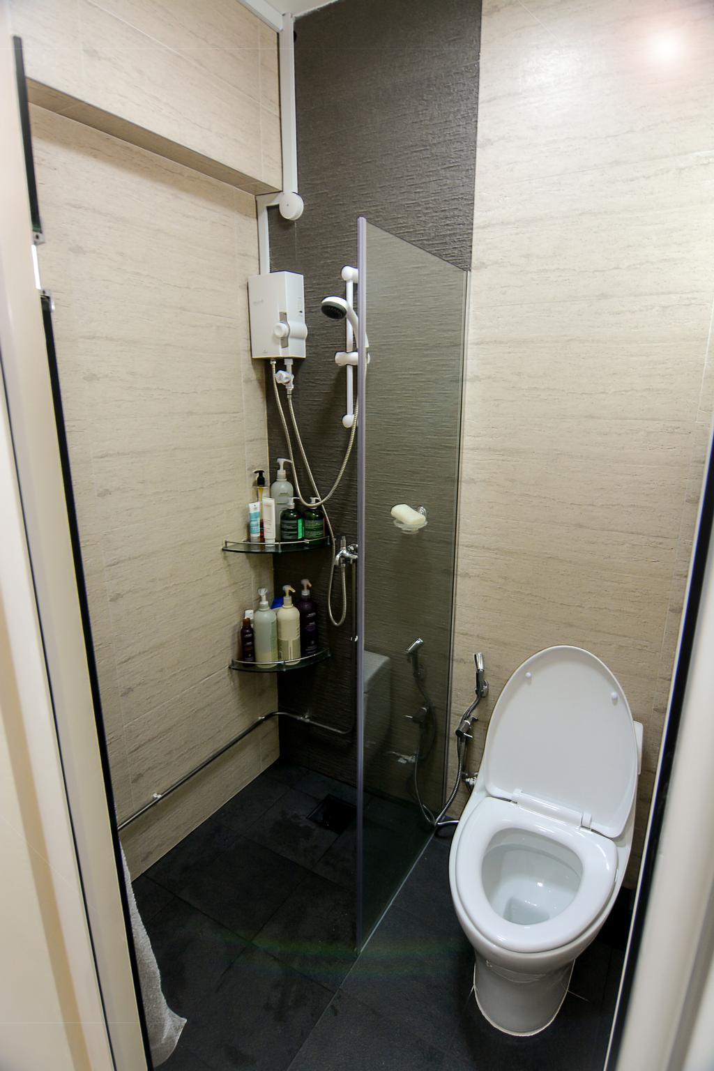 Modern, HDB, Bathroom, Bedok Reservoir (Block 615), Interior Designer, Faith Interior Design, Scandinavian, Bathroom Tiles, Shower Screen