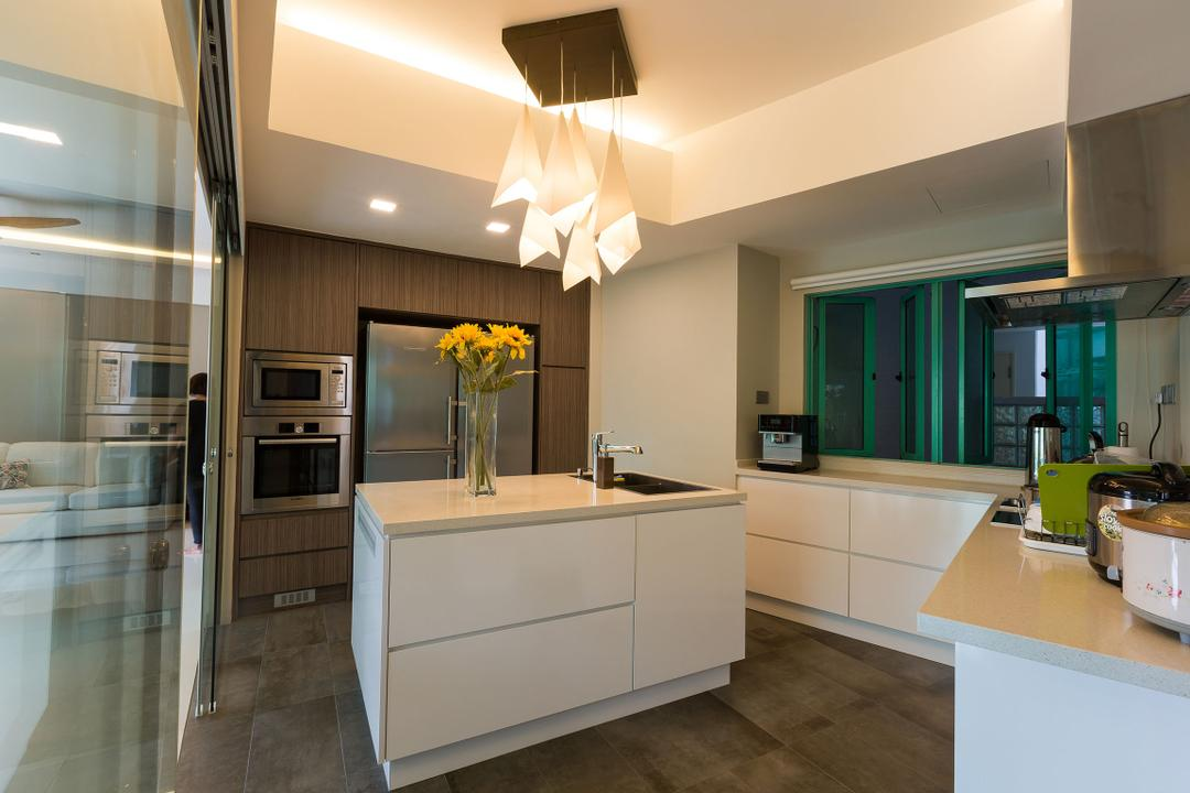Hindhede Walk, Faith Interior Design, Modern, Contemporary, Kitchen, Condo, Modern Contemporary Kitchen, False Ceiling, Cove Lighting, Kitchen Island, Built In Cupboard, Downlights, White Cabinet, Multi Pendant Lighting, Laminated Countertop, Carpentry