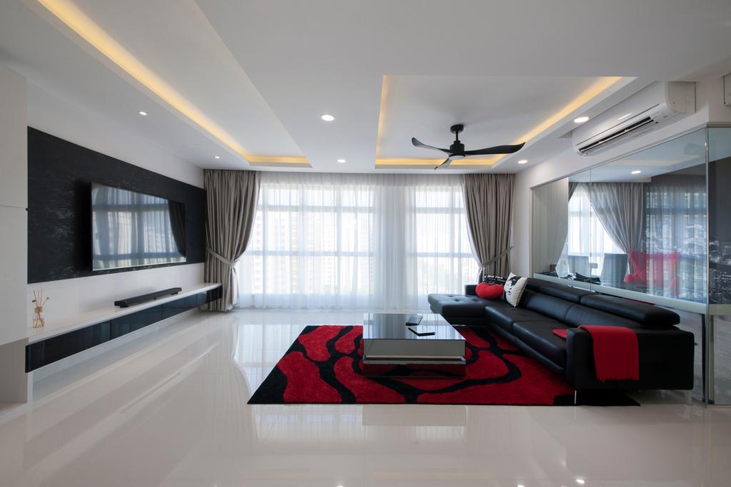 Modern, HDB, Living Room, Compassvale Drive (Block 216A), Interior Designer, Colourbox Interior, Contemporary, Indoors, Interior Design, Room, White Board