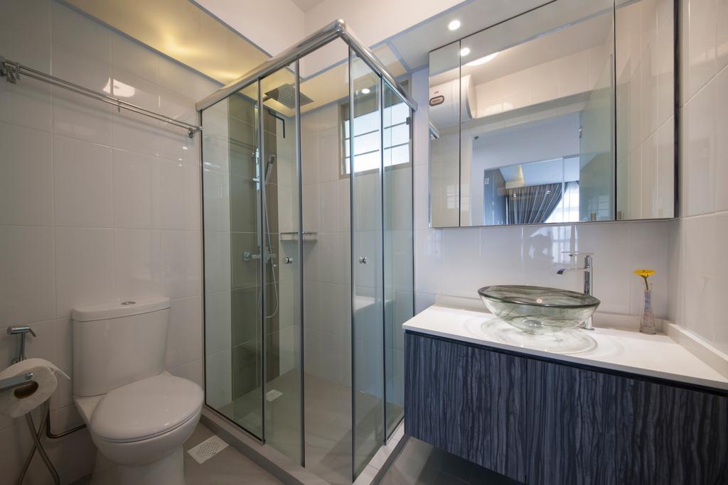 Modern, HDB, Bathroom, Compassvale Drive (Block 216A), Interior Designer, Colourbox Interior, Contemporary, Toilet, Indoors, Interior Design, Room