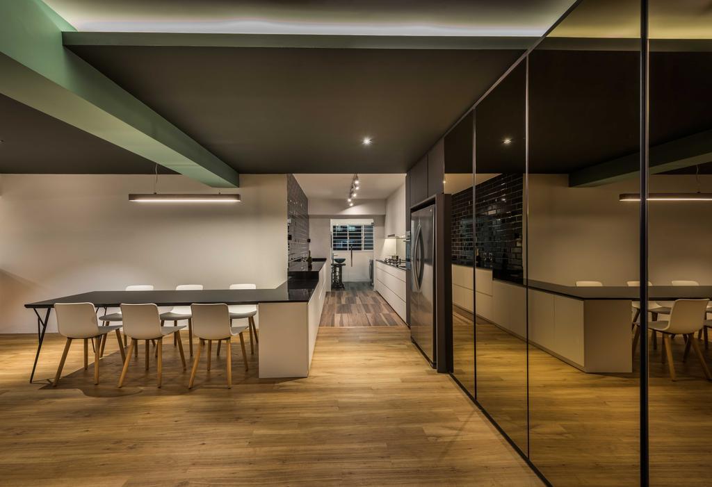 Contemporary, HDB, Dining Room, Tampines (Block 450F), Interior Designer, Third Avenue Studio, Dining Table, Furniture, Table, Lighting, Chair