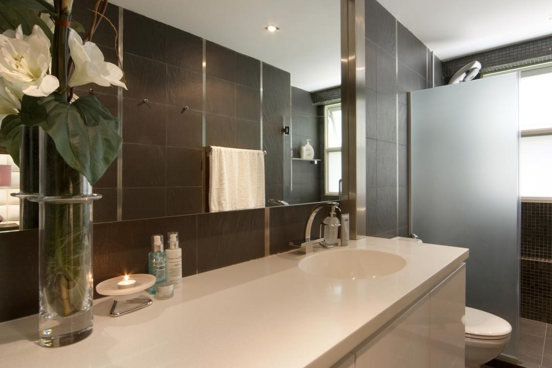 The Shaughnessy, Vegas Interior Design, Modern, Contemporary, Bathroom, Landed, Modern Contemporary, Sink Countertop, Built In Mirror, Indoors, Interior Design, Room, Cup, Sink, Amaryllis, Blossom, Flora, Flower, Plant, Jar, Potted Plant, Pottery, Vase