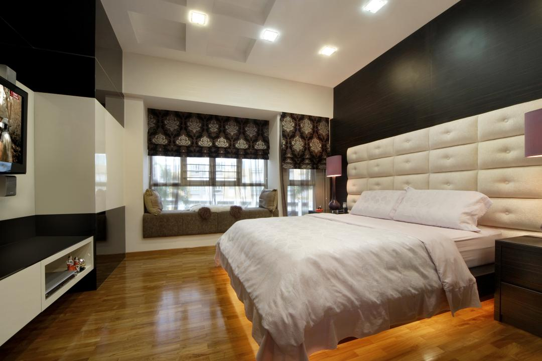 The Shaughnessy, Vegas Interior Design, Modern, Contemporary, Bedroom, Landed, Modern Bedroom, Fabric Blinds, Floating Console, Padded Bed Wall, Tv Wall Panel, Bed, Furniture, Lighting