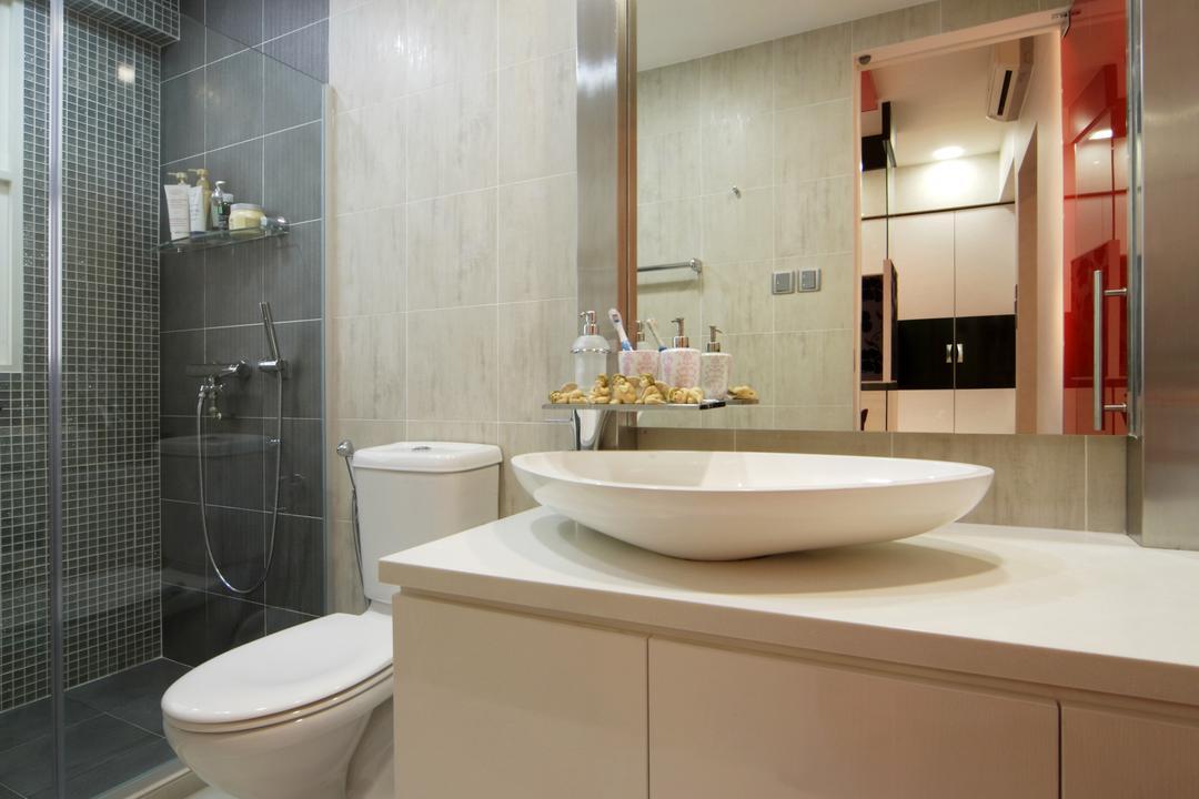 The Shaughnessy, Vegas Interior Design, Modern, Contemporary, Bathroom, Landed, Modern Bathroom, Vessel Sink, Sink Countertop, Built In Mirror, Sink, Indoors, Interior Design, Room