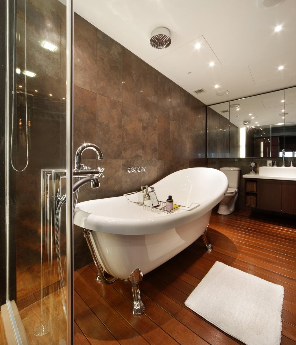 Modern, Landed, Bathroom, The Shaughnessy, Interior Designer, Vegas Interior Design, Contemporary, Glass Bathroom, Vintage Bathtub, Marble Wall, Wooden Flooring, Ceiling Showerhead, Downlights, Built In Mirror, Sink, Indoors, Interior Design, Room