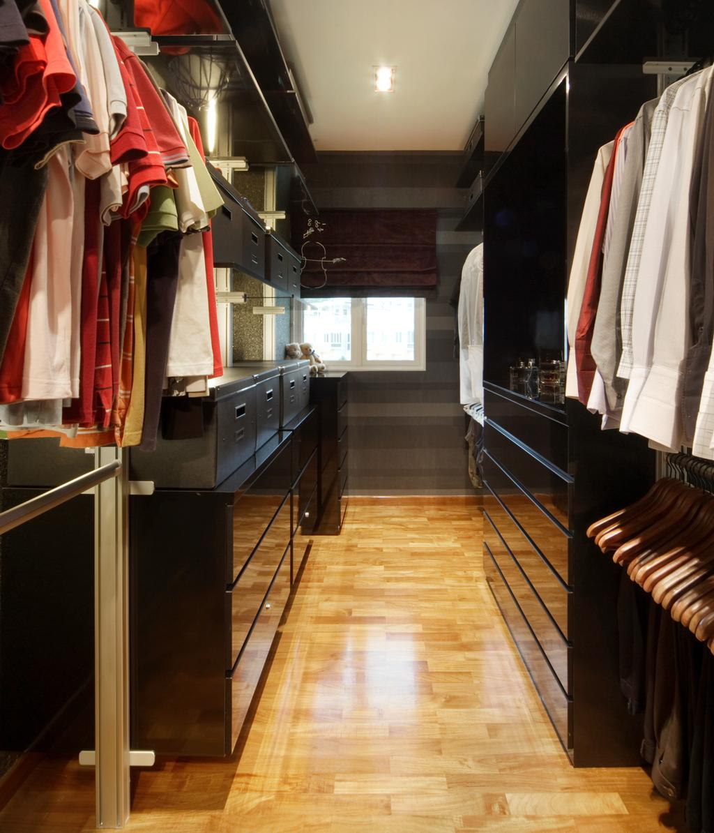 Modern, Landed, Bedroom, The Shaughnessy, Interior Designer, Vegas Interior Design, Contemporary, Built In Wardrobe, Walk In Wardrobe, Downlights, Wooden Flooring