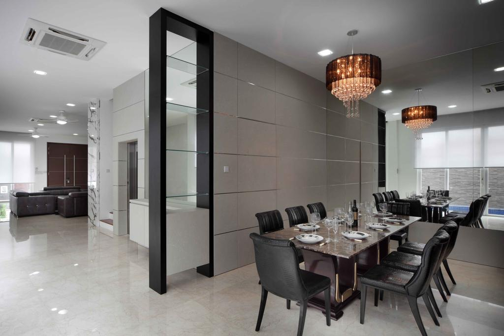 Modern, Landed, Dining Room, Jalan Hussein, Interior Designer, Vegas Interior Design, Contemporary, Modern Contemporary Dining Room, Round Crystal Chandelier, Marble Flooring, Wall Panel, Built In Glass Shelf, Classy, Dining Table, Furniture, Table, Indoors, Interior Design, Room, Chair