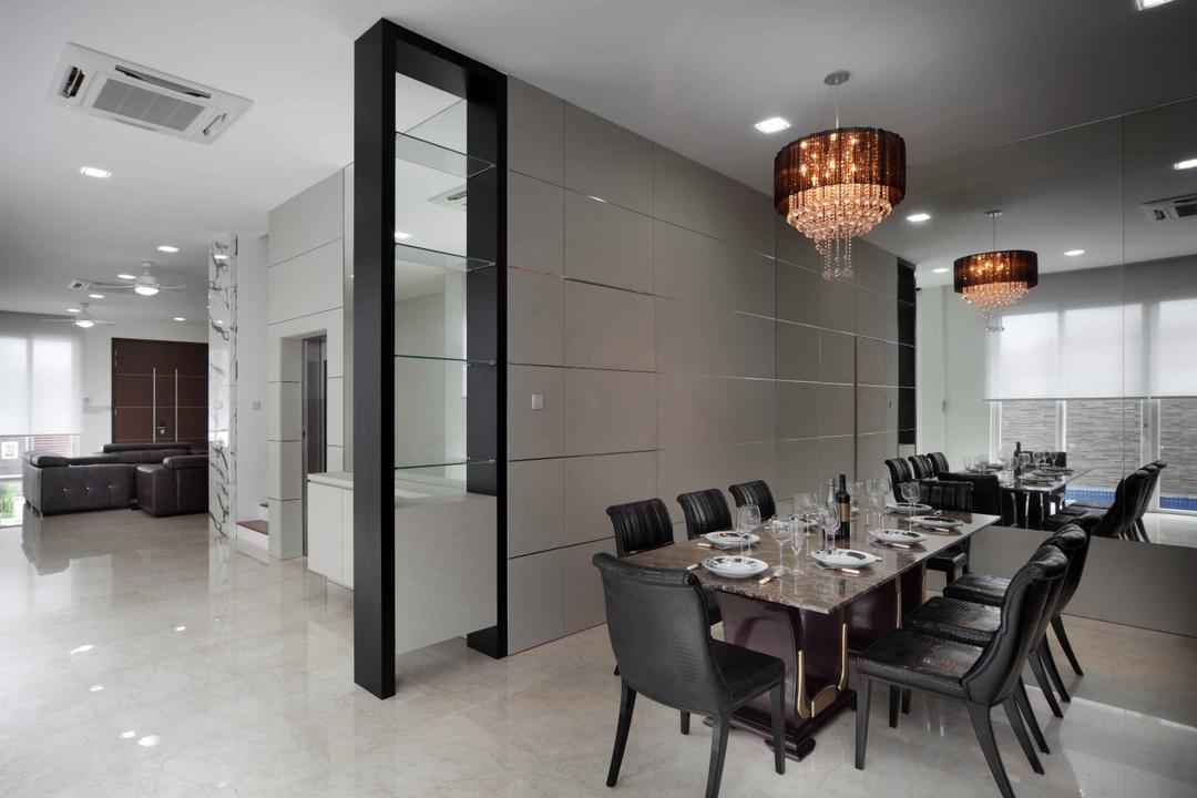 Jalan Hussein, Vegas Interior Design, Modern, Contemporary, Dining Room, Landed, Modern Contemporary Dining Room, Round Crystal Chandelier, Marble Flooring, Wall Panel, Built In Glass Shelf, Classy, Dining Table, Furniture, Table, Indoors, Interior Design, Room, Chair