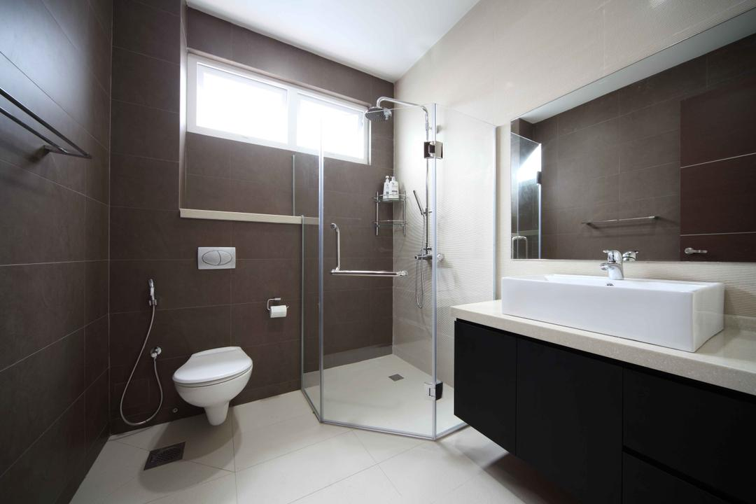 Jalan Hussein, Vegas Interior Design, Modern, Contemporary, Bathroom, Landed, Modern Bathroom, Shower Screen, Boxy Sink, Sink Countertop, In Wall Flushing System, Overhead Shower, Built In Mirror, Toilet, Indoors, Interior Design, Room
