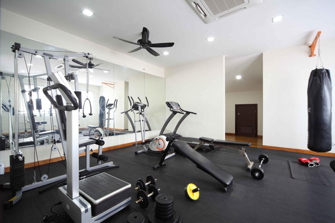 Jalan Hussein, Vegas Interior Design, Modern, Contemporary, Landed, Gym Room, Built In Mirror, Exercise, Fitness, Gym, Sport, Sports, Working Out, Propeller