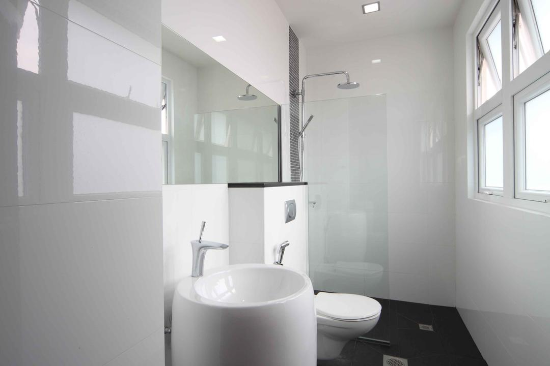 Jalan Hussein, Vegas Interior Design, Modern, Contemporary, Bathroom, Landed, Modern Contemporary Bathroom, Downlights, Built In Mirror, In Wall Flushing System, Indoors, Interior Design, Room, Window