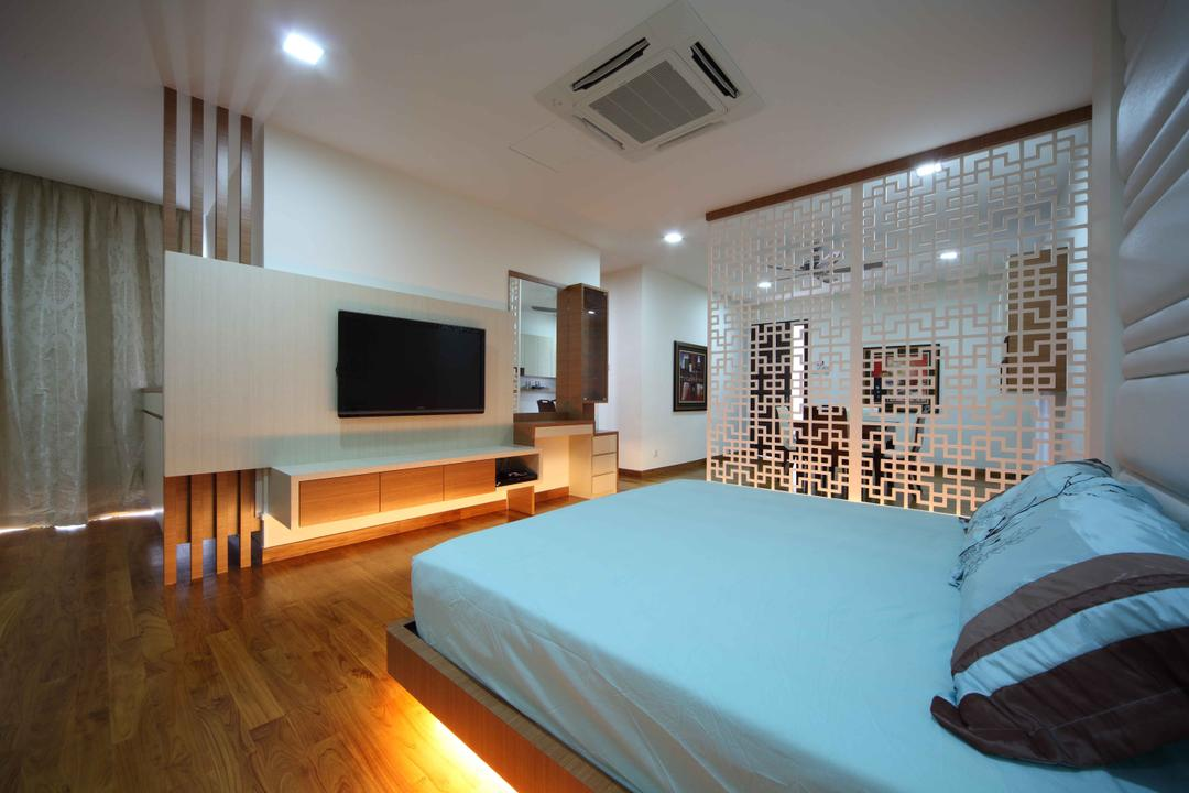 Jalan Hussein, Vegas Interior Design, Modern, Contemporary, Bedroom, Landed, Wall Mounted Tv, Modern Bedroom, Pattern Wall Divider, Padded Bed Wall, Wooden Flooring, Downlights, Floating Console, Tv Wall Panel, Hidden Interior Lighting, Recessed Lights, Built In Air Condition, Blue King Size Bed, Indoors, Room, Bed, Furniture, Interior Design