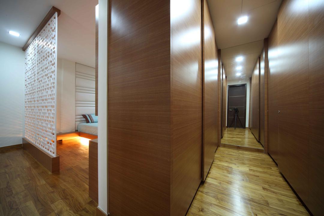 Jalan Hussein, Vegas Interior Design, Modern, Contemporary, Bedroom, Landed, Built In Wardrobe, Sliding Wardrobe, Pattern Wall Divider, HDB, Building, Housing, Indoors, Loft, Flooring, Floor