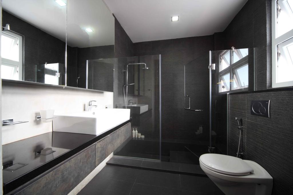 Modern, Landed, Bathroom, Jalan Hussein, Interior Designer, Vegas Interior Design, Contemporary, Modern Contemporary Bathroom, Shower Glass Panel, In Wall Flushing System, Downlights, Boxy Sink, Laminated Countertop, Built In Mirror, Toilet, Indoors, Interior Design, Room