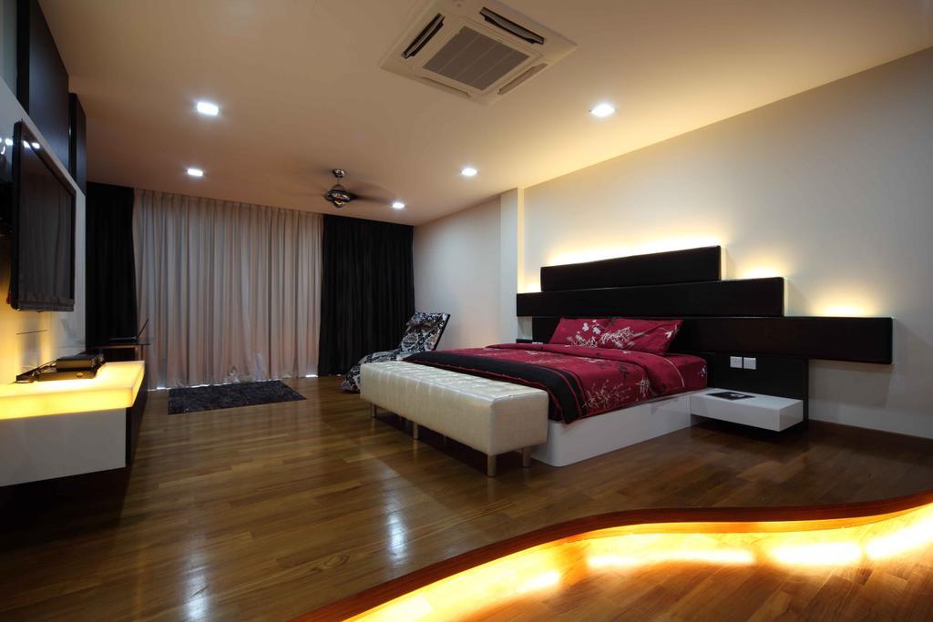 Modern, Landed, Bedroom, Jalan Hussein, Interior Designer, Vegas Interior Design, Contemporary, Spacious Bedroom, Downlights, Wooden Flooring, Modern Bed Frame, Wall Mounted Tv, Floating Console