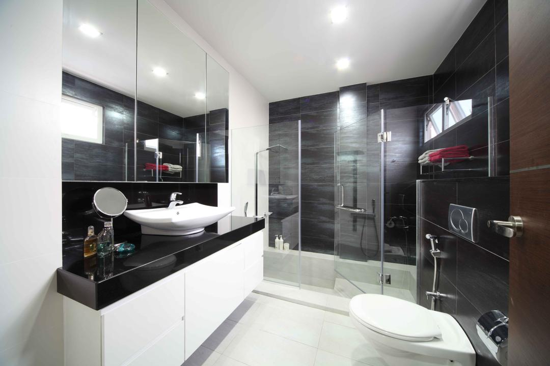 Jalan Hussein, Vegas Interior Design, Modern, Contemporary, Bathroom, Landed, Modern Contemporary Bathroom, Sink Countertop, Vessel Sink, Shower Glass Panel, Downlights, In Wall Flushing System, Built In Mirror, Sink, Indoors, Interior Design, Room