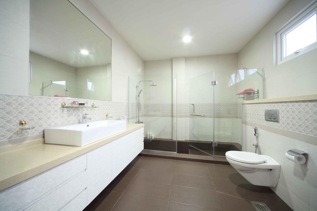 Modern, Landed, Bathroom, Jalan Hussein, Interior Designer, Vegas Interior Design, Contemporary, Modern Bathroom, Boxy Sink, Sink Countertop, Downlight, Indoors, Interior Design, Room