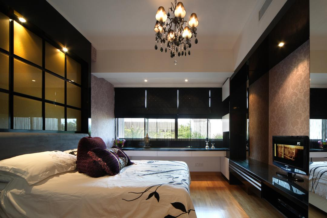 Ocean Drive, Sentosa Cove, Vegas Interior Design, Contemporary, Bedroom, Landed, Modern Contemporary Bedroom, Black Chandelier, Window Bay, Bed Wall Panel, Downlights, Wooden Flooring, Built In Tv Storage Unit, Wallpaper, Bay Window, Window Ledge, Nook, Roller Blinds, Indoors, Interior Design, Bed, Furniture, Light Fixture, Chandelier, Lamp