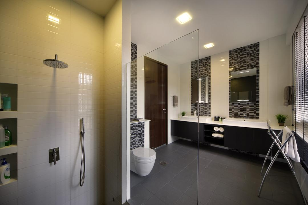 Woo Mon Chew Road, Vegas Interior Design, Contemporary, Bathroom, Landed, Modern Contempoary Bathroom, Downlights, Sink Countertop, Blinds, Big Bathroom