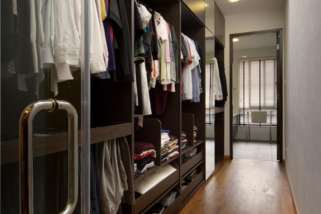 Woo Mon Chew Road, Vegas Interior Design, Contemporary, Bedroom, Landed, Walk In Wardrobe, Built In Wardrobe, Wooden Flooring, False Ceiling, Downlights, Dresser, Cabinet, Wardrobe, Balcony, Building, Hostel, Housing