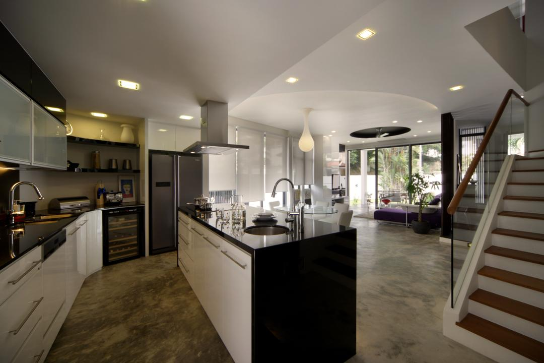 Woo Mon Chew Road, Vegas Interior Design, Contemporary, Kitchen, Landed, Open Space, Kitchen Island, Standing Island, Kitchen Countertop, Appliance, Electrical Device, Oven, Banister, Handrail, Staircase, Flora, Jar, Plant, Potted Plant, Pottery, Vase