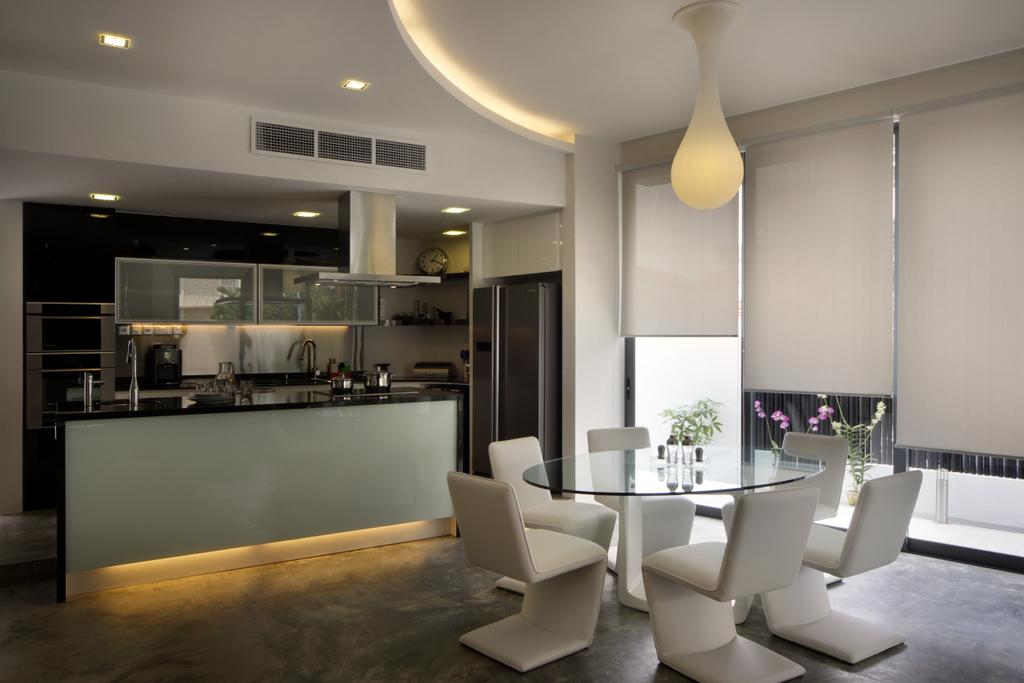 Contemporary, Landed, Dining Room, Woo Mon Chew Road, Interior Designer, Vegas Interior Design, Modern Contemporary Dining Room, Modern Dining Set, False Ceiling, Cove Lighting, Roll Blinds, Spotlights, Modern Kitchen, Kitchen Island, Built In Cupboard, Indoors, Interior Design, Room, Furniture