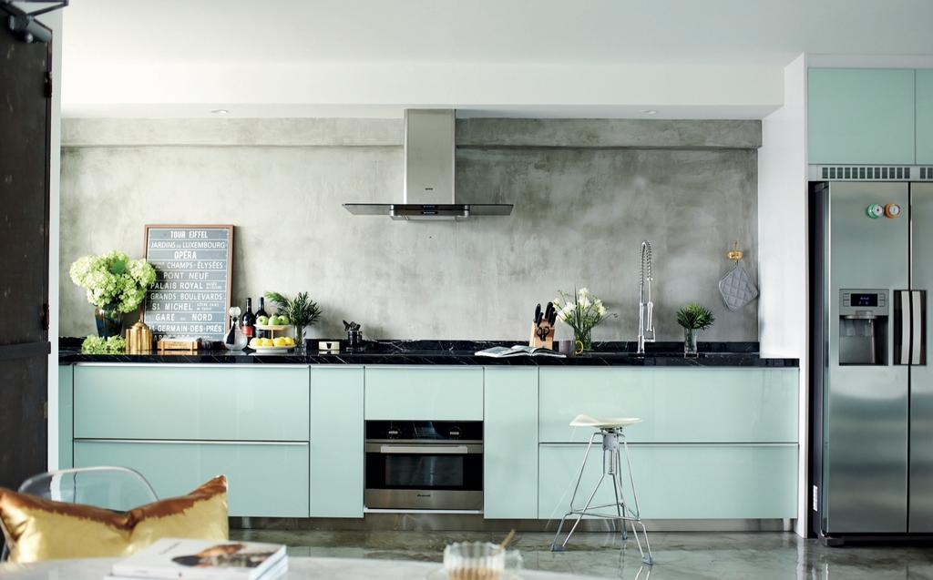 Eclectic, HDB, Kitchen, Circuit Road (Block 37), Interior Designer, Bowerman, Eclectic Kitchen, Cement Wall, Cement Flooring, Built In Cupboard, Kitchen Hood, Industrial Stool, Plants, Built In Appliances, Modern Contemporary Kitchen, Plaque, Appliance, Electrical Device, Oven