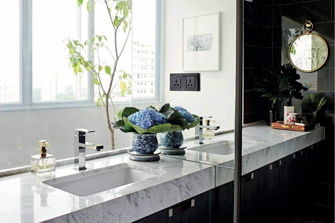 Circuit Road (Block 37), Bowerman, Eclectic, Bathroom, HDB, Eclectic Bathroom, Marble Countertop, Sink Countertop, Plants, Blinds, Airy, Hanging Mirror, Black Tiles, Flora, Jar, Plant, Potted Plant, Pottery, Vase, Dining Room, Indoors, Interior Design, Room, Furniture, Tabletop, Sink