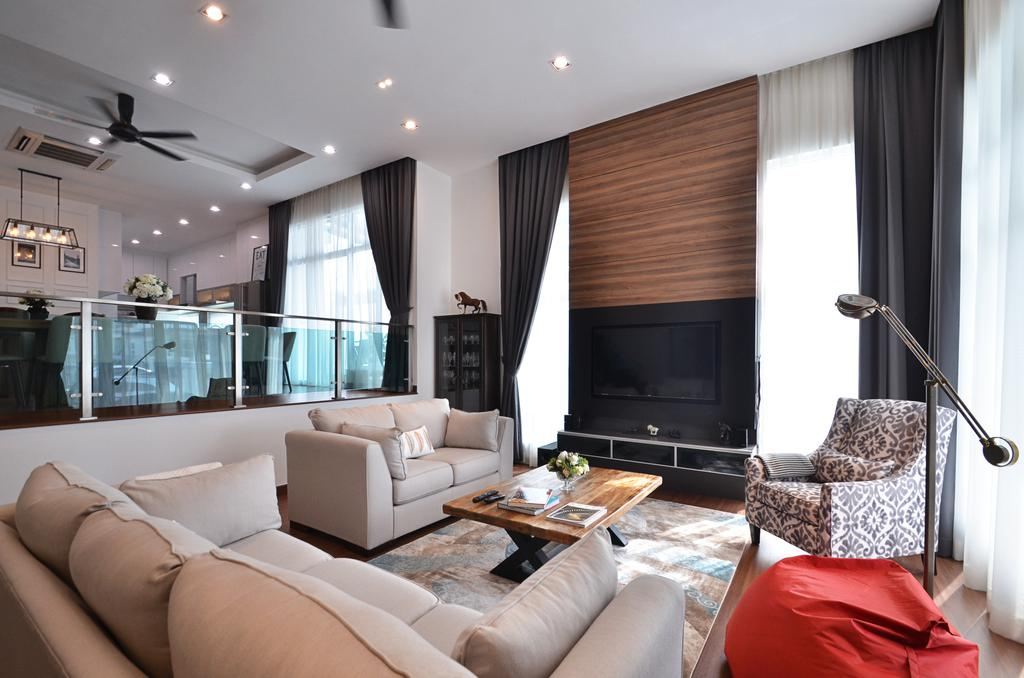 Contemporary, Landed, Living Room, Clover Garden @ Cyberjaya, Interior Designer, Mega Fusion Design Studio, Modern, Couch, Furniture, Indoors, Room, Interior Design, Fireplace, Hearth